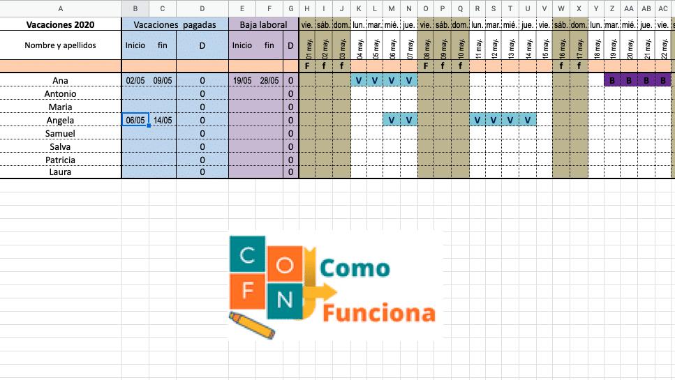 Hacer un planning rápidamente (vacaciones) en Excel