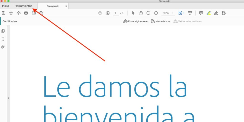 Opcion de herramientas de Adobe Reader DC