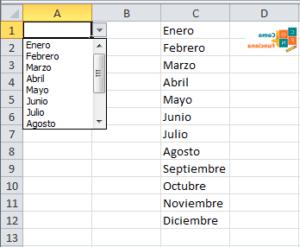Menu desplegable Excel Microsoft