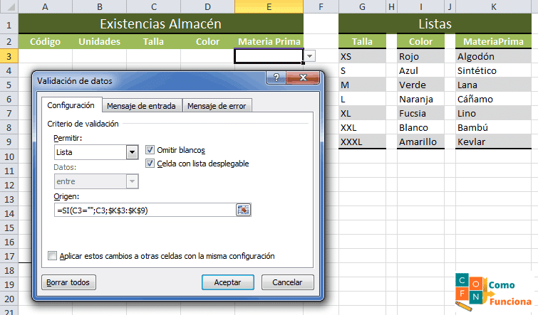 Excel – Lista desplegable (simple)